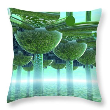 Panoramic Green City And Alien Or Future Human Throw Pillow by Nicholas Burningham