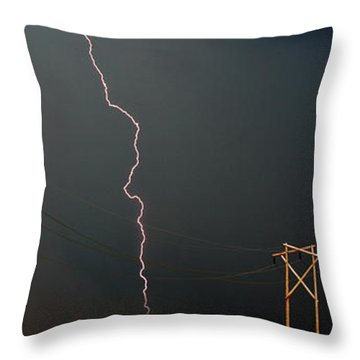 Panoramic Lightning Storm And Power Poles Throw Pillow by Mark Duffy