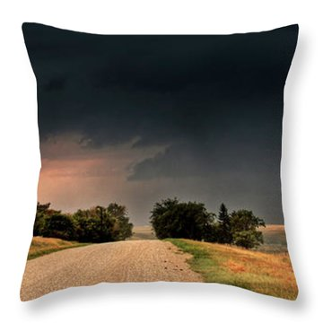 Panoramic Lightning Storm In The Prairie Throw Pillow by Mark Duffy