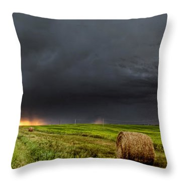Panoramic Lightning Storm In The Prairies Throw Pillow by Mark Duffy