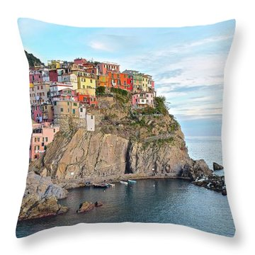 Throw Pillow featuring the photograph Panoramic Manarola Seascape by Frozen in Time Fine Art Photography