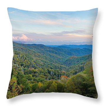 Panoramic October Views Of Smokey Mountain National Park Throw Pillow