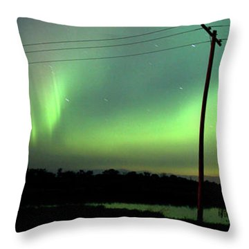 Panoramic Prairie Northern Lights Throw Pillow by Mark Duffy