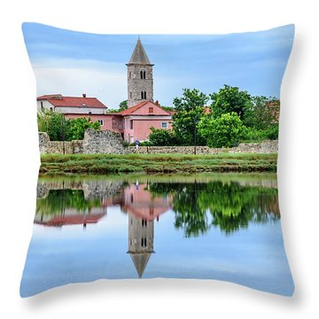 Panoramic Reflections Of Nin, Croatia Throw Pillow