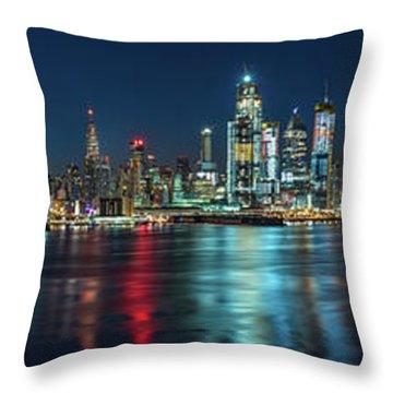 Panoramic Skyline-manhattan Throw Pillow