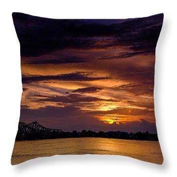 Panoramic Sunset At Natchez Throw Pillow