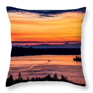 Panoramic Sunset Over Hail Passage E Series On The Puget Sound Throw Pillow