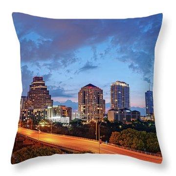 Panoramic Twilight View Of Downtown Austin Skyline And Congress Avenue Bridge - Travis County Texas  Throw Pillow