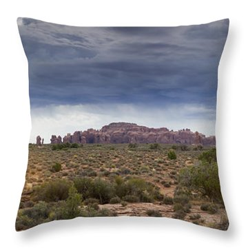 Panoramic View At Arches National Park Throw Pillow