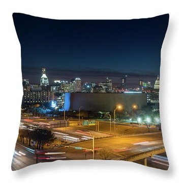 Panoramic View Of Busy Austin Texas Downtown Throw Pillow
