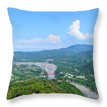 Throw Pillow featuring the photograph Panoramic View Of Southern Taiwan by Yali Shi