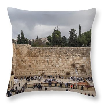 Panoramic View Of The Wailing Wall In The Old City Of Jerusalem Throw Pillow