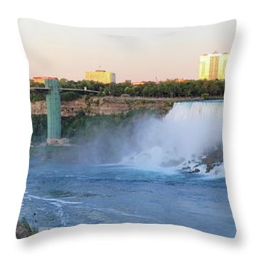 Panoramic Views Of The Peacebridge, Niagara River And American Falls Throw Pillow