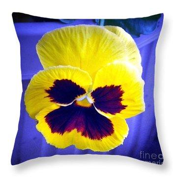 Pansey Yellow Blue Throw Pillow