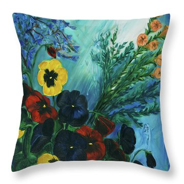 Pansies And Poise Throw Pillow by Jennifer Christenson