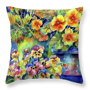 Pansies And Primroses Throw Pillow
