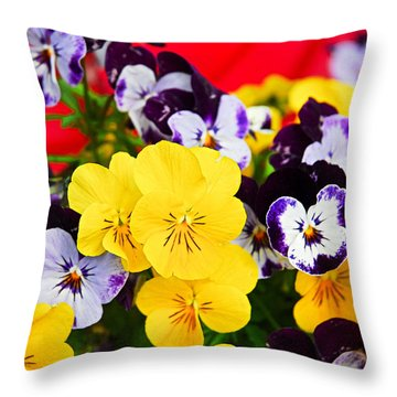 Pansies And Red Cart Throw Pillow