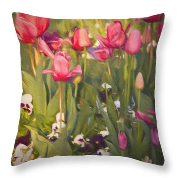 Throw Pillow featuring the photograph Pansies And Tulips by Lana Trussell