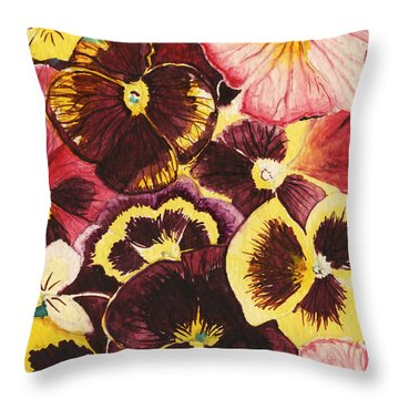 Throw Pillow featuring the painting Pansies Competing For Attention by Shawna Rowe