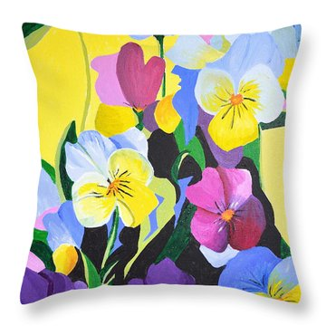 Pansies Throw Pillow by Donna Blossom