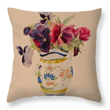 Pansies In A Quimper Pot Throw Pillow