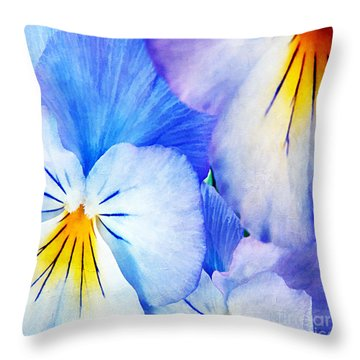Pansies In Blue Tones Throw Pillow