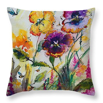 Pansies In My Garden Watercolor And Ink Throw Pillow
