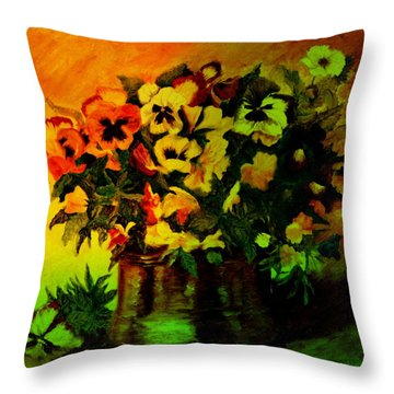 Pansies In The Vase Throw Pillow