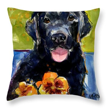 Throw Pillow featuring the painting Pansies by Molly Poole