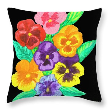 Pansies On Black Throw Pillow