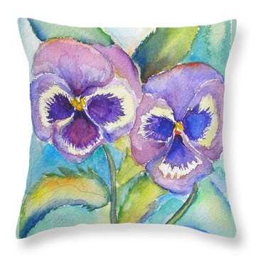Pansies Throw Pillow by Patricia Piffath