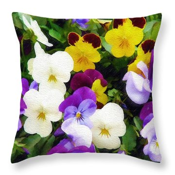 Throw Pillow featuring the photograph Pansies by Sandy MacGowan