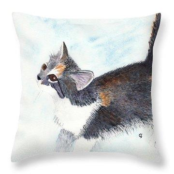 Calico Barn Cat Watercolor Throw Pillow