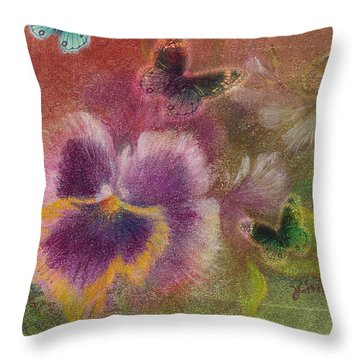 Pansy Butterfly Asianesque Border Throw Pillow