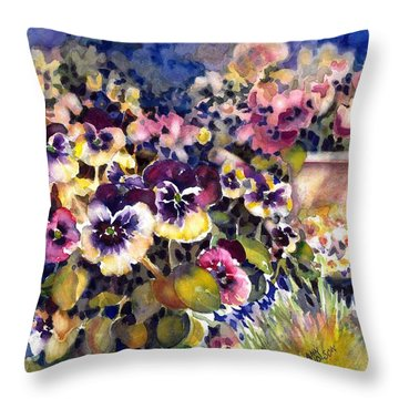 Pansy Garden Throw Pillow
