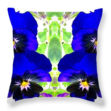 Pansy Pattern Throw Pillow by Marianne Dow