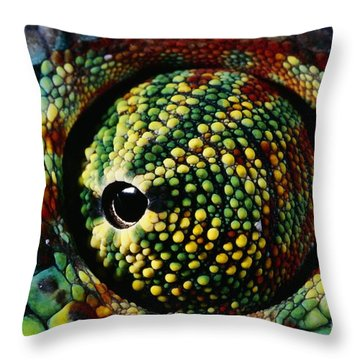 Panther Chameleon Eye Throw Pillow by Daniel Heuclin and Photo Researchers