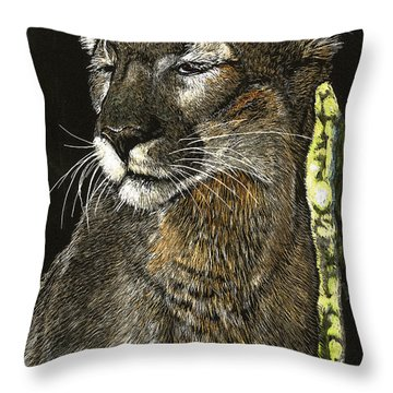 Panther Contemplates Throw Pillow
