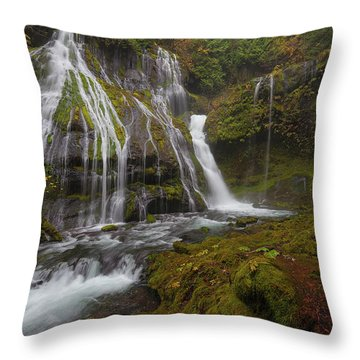 Panther Creek Falls In Autumn Throw Pillow by David Gn