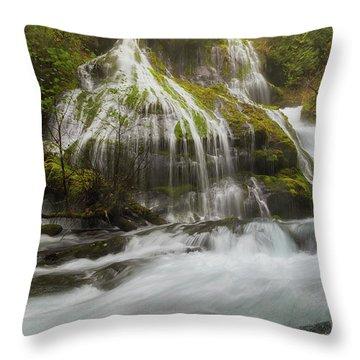 Panther Creek Falls In Fall Season Throw Pillow