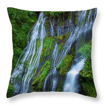 Panther Creek Falls Summer Waterfall 1 Throw Pillow