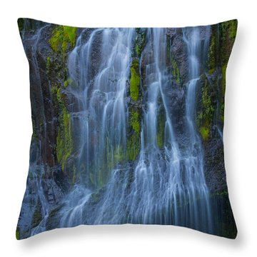 Panther Creek Falls Summer Waterfall -close 2 Throw Pillow