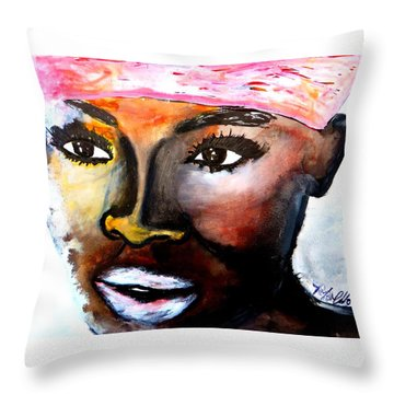 Throw Pillow featuring the painting Paola by Tarra Louis-Charles