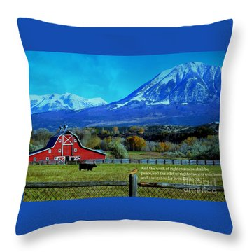 Paonia Mountain And Barn Throw Pillow by Annie Gibbons