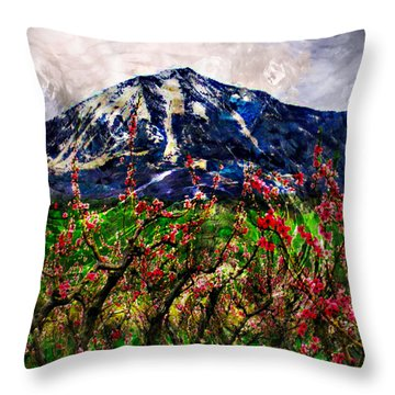 Paonia Peach Blossoms And Mount Lamborn Throw Pillow