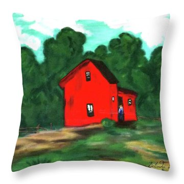 Throw Pillow featuring the painting Papa's Barn by Belinda Landtroop