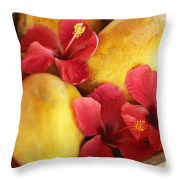 Papaya Fruit And Hibiscus Throw Pillow by Kyle Rothenborg - Printscapes