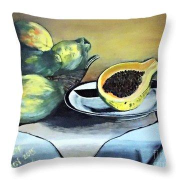 Papaya Still Life Throw Pillow