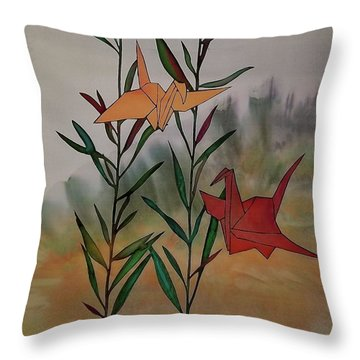 Paper Cranes 1 Throw Pillow