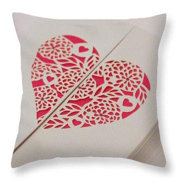 Paper Cut Heart Throw Pillow